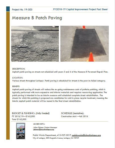 2019-303 Measure B Patch Paving