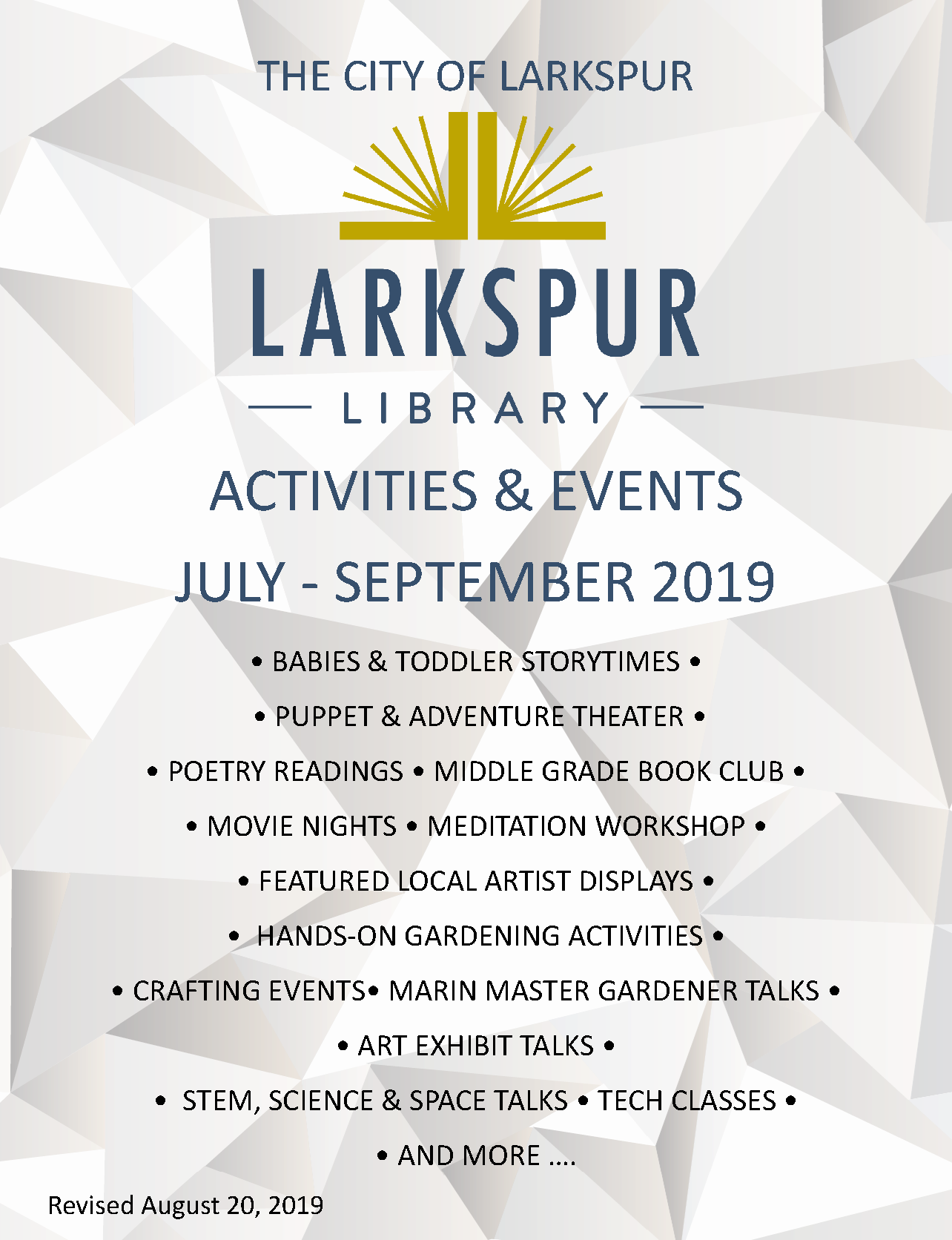 2019 Event Brochure July-September 1