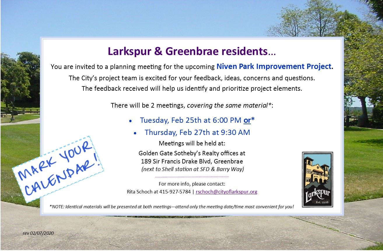 Niven Park Project - invite to community meeting