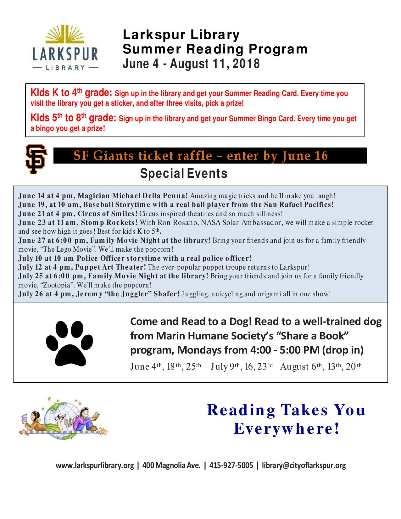 2018 Summer Reading Flyer